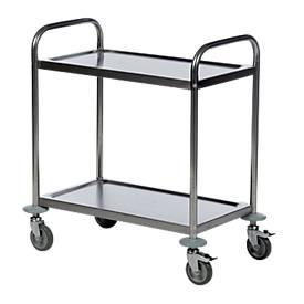 Roestvrijstalen tafelwagen 2 legplanken, 685 x 380 mm, 685 x 380 mm