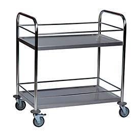 Roestvrijstalen tafelwagen 2 legplanken, met rand, 825 x 500 mm, met rand, 825 x 500 mm