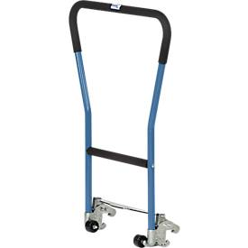 Rohrschiebebügel, für Paletten-Fahrgestell, Stahlrohr, blau, einklinkbar, 2 Hilfsrollen