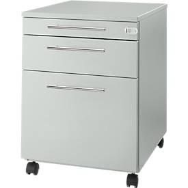 Rolcontainer Start UP 126, keukengerei, hangmappen, lade, afsluitbaar, B 432 x D 580 x H 595 mm, lichtgrijs/lichtgrijs.