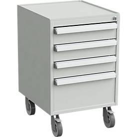 Rollcontainer, 4 Schubladen, Zentralverschluss, B 450 x T 520 x H 700 mm