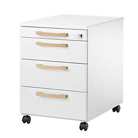 Rollcontainer Start Up Wood, 3 Schübe, Utensilienauszug, Zentralverschluss, B 432 x T 580 x H 595 mm, Holz, weiß