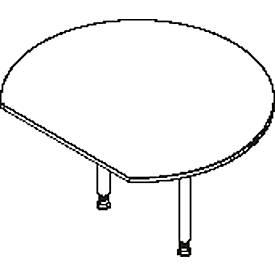 Ronde aanbouwtafel, met 2 poten, met recht afgesneden tafelblad, Ø 1200 mm, lichtgrijs