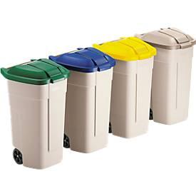 Rubbermaid® container beige à roulettes, 110 litres
