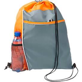 Rucksack-Beutel Mondo, 210D-Polyester, mit Kordelzug, mit Vordertasche und Netzfach, orange
