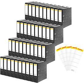 SCHÄFER SHOP Standardordner, DIN A4, 80 mm, 40 Stück + GRATIS Rückenschilder