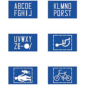 Schablonenset zur Fahrbahnmarkierung 6 x ABC/Symbole