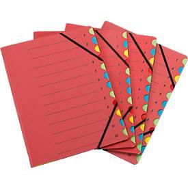 SCHÄFER SHOP Dokumentenmappe, DIN A4, Gummizugverschluss, 12-teilig, Karton, rot