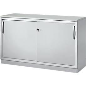 Schäfer Shop Genius Armario de puertas correderas TETRIS SOLID, 2 AA, An 1200 x Al 818mm, tabique central, cubierta de 19mm, gris luminoso/aluminio blanco