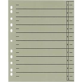 SCHÄFER SHOP Kartonnen gelinieerde tabbladen, te snijden, A4, grijs, 100 stuks