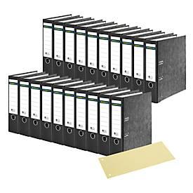 SCHÄFER SHOP Ordner, DIN A4, 80 mm, 20 Stück, schwarz + GRATIS Trennstreifen, gelb, 100 Stück