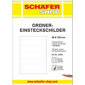SCHÄFER SHOP Ordner-Einsteckschilder, bedruckbar, Rückenbreite 3 oder 4,8 cm, 90/50 Stück