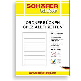 SCHÄFER SHOP Ordner-Spezialetiketten, DIN A4, versch. Rückenbreiten,  bedruckbar, 20 Bogen