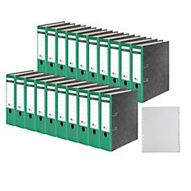 SCHÄFER SHOP Ordners met wolkenmarmerpapier, met gelijmde rugetiket, groen, A4, 80 mm + SCHÄFER SHOP PP-Tabbladen, A4, A-Z GRATIS