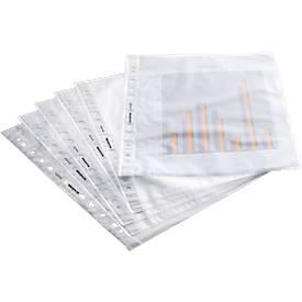SCHÄFER SHOP Prospekthülle, DIN A4, oben offen, 100 Stück, genarbt, transparent, 0,08 mm, Premium