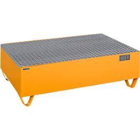 Schäfer Shop Pure opvangbak, met verzinkt rooster, voor 2 vaten à 200 l, B 1200 x D 800 x H 360 mm, onderrijdbaar met heftruck, staal, RAL 2000 oranje