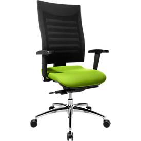 Schäfer Shop Select Bürostuhl SSI PROLINE S3, Synchronmechanik, mit Armlehnen, 3D-Netz-Rückenlehne, Bandscheibensitz, apfelgrün/schwarz