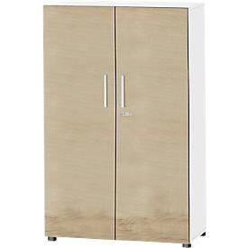 Schäfer Shop  Select Kast SET UP, 4 ordnerhoogten, afsluitbaar, B 800 x D 420 x H 1470 mm, wit/eiken