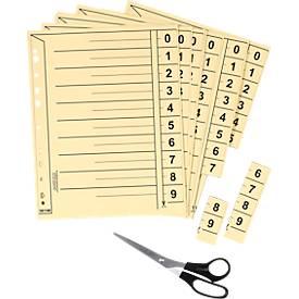 SCHÄFER SHOP Tabbladen met numerieke tabs te snijden, A4, met perforatierand-versteviging, 100 sets