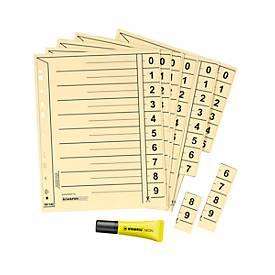 SCHÄFER SHOP Trennblätter DIN A4 + 1 x STABILO® Textmarker Neon, GRATIS