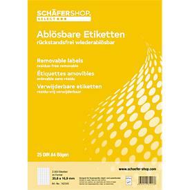 SCHÄFER SHOP Étiquettes universelles non permanentes, 35,6 x 16,9 mm, 2000 pièces