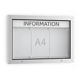 Schaukasten WSM, Querformat, B 750 x T 70 x H 500 mm, für Innen & Außen, abschließbar, inkl. 10 Magnete & Schriftleiste