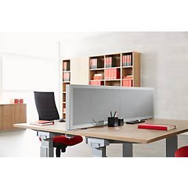 Scheidingswand bureau Akustika, van geperforeerd plaatstsaal, b 1600 x h 400 mm, lichtgrijs