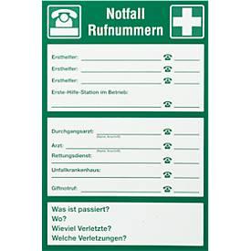 "Schild ""Notfall-Rufnummern"""