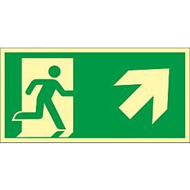 Schild Rettungsweg Treppe aufwärts