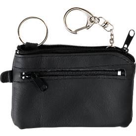 Schlüsseltasche Jumbo, Leder, mit Schlüsselkette und Karabinerring, Geldfach, schwarz + Werbedruck