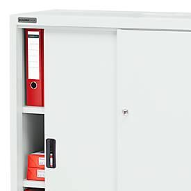 Schrank, Schiebetüren, B 950 x T 400 x H 1150 mm, lichtgrau