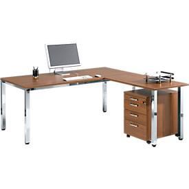 Schreibtisch 1800 mm, Quadratfuß + Anbautisch + Rolly 1233