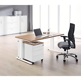 Schreibtisch B 1600 + Rollcontainer 1233 + Akzentleisten PLANOVA BASIC