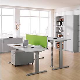 Schreibtisch ERGO-T, T-Fuß, 2-stufig elektr. höhenverstellbar, B 1200, 1600, 1800 mm