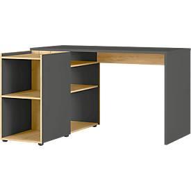 Schreibtisch mit Anbauregal Austin, 5 offene Fächer, B 1290 x T 1070 x H 760 mm, graphit/Eiche