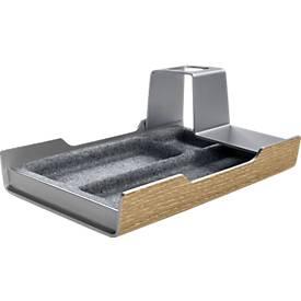 Schreibtisch Organizer sigel® smartstyle, 2 Fächer & 1 Stiftehalter, Kunstsoff/Acryl/Filz, Metallic-Holz-Optik