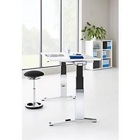 Schreibtisch Planova ergoSTYLE, elektrisch höhenverstellbar, C-Fuß verchromt, B 1600 mm, lichtgrau