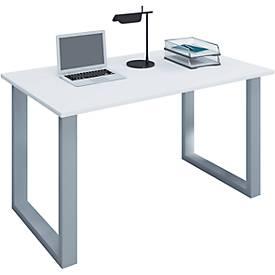 Schreibtisch, rechteckig, Bügelfuß, B 1100 x T 500 x H 760 mm, weiß/silber