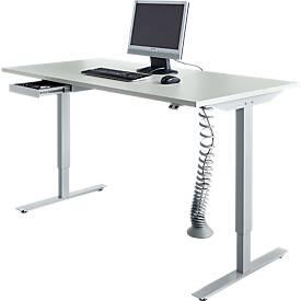 Schreibtisch Start Up, elektrisch höhenverstellbar, T-Fuß-Gestell, 1600 x 800 mm, lichtgrau + Kabelführung, Zubehörschublade