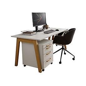 Schreibtisch Start Up Wood, rechteckig, A-Fuß, B 1600 x T 800 x H 735 mm, weiß/Holzoptik