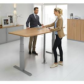 Schreibtisch TRENTEC, Ansatz rechts, Rechteckrohr, elektrisch höhenverstellbar