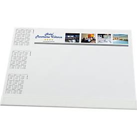 Schreibunterlage mit Fußleiste, inkl. 2-farbigem Werbe-Druck
