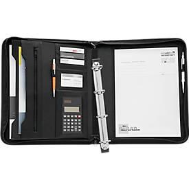 Schrijfmap, A4, 8 vakken, afneembaar ringmechanisme, incl. zakrekenmachine, imitatieleer, zwart