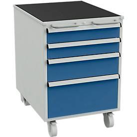 Schubladenblock für Arbeitstische mit 550 mm Breite, mit Rollen und 2 Handgriffen