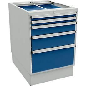 Schubladenblock für Arbeitstische mit 550 mm Breite, mit Sockel