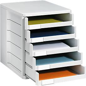 Schubladenbox, 5 Schübe, DIN A4, Polystyrol, lichtgrau