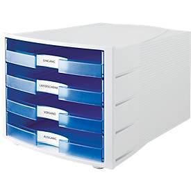 Schubladenbox Impuls, DIN A4 Format, stapelbar, 4 Schubladen, Gehäuse lichtgrau/Schublade blau transparent