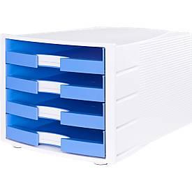 Schubladenbox Impuls, DIN A4 Format, stapelbar, 4 Schubladen, Gehäuse weiß/Schublade hellblau