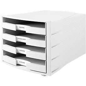Schubladenbox Impuls, DIN A4 Format, stapelbar, 4 Schubladen