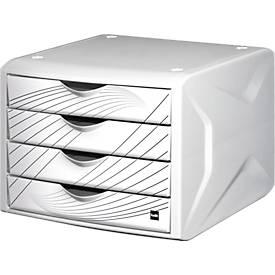 Schubladenbox the chameleon, 4 Schübe im DIN A4, durchgehende, moderne Designmotive